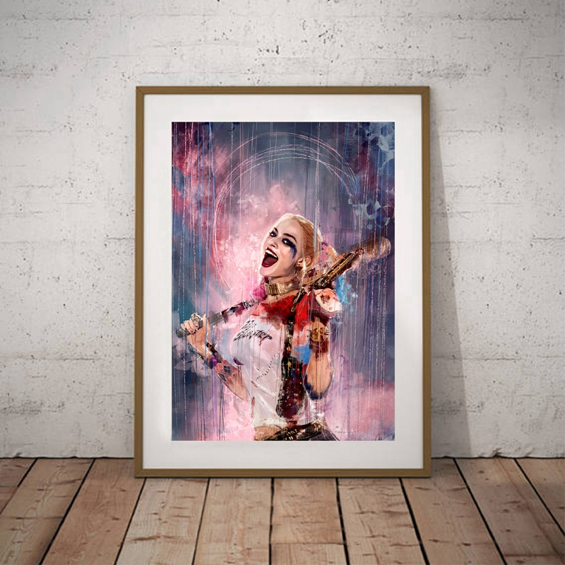 Super Villain Hero Canvas Painting Art Poster, ameriški strip Harley Quinn Wall Wall Art Art Natisni Home Decor