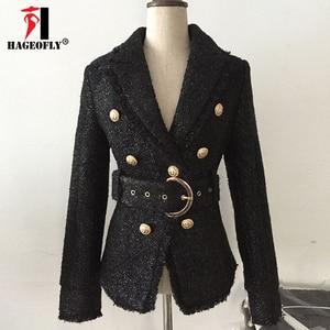 Image 3 - Blazer negro de invierno de alta calidad para mujer, chaqueta de abrigo corta delgada con doble botón dorado y cinturón de lana brillante, traje de oficina, Blazer para mujer