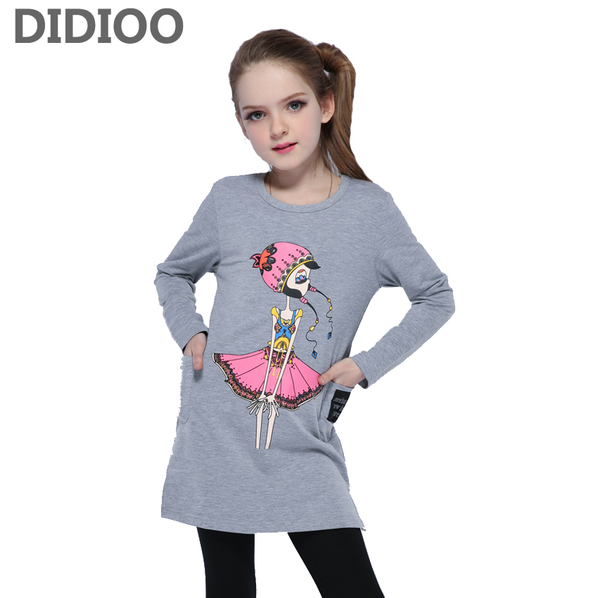 Kids Tops for Girls Long Sleeve Cotton Cartoon T-shirts Children Spring Clothes Infant Tees 2 6 8 9 10 12 Years Girls Print Tops lovely spring pure cotton thomas and friends children clothing long sleeve tops pants for 2 7 years boy kids pajamas sleepwear