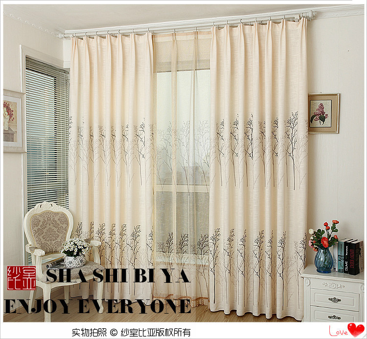 Lined Linen Drapes: Special High Grade Modern Living Room Curtains Lined Tree