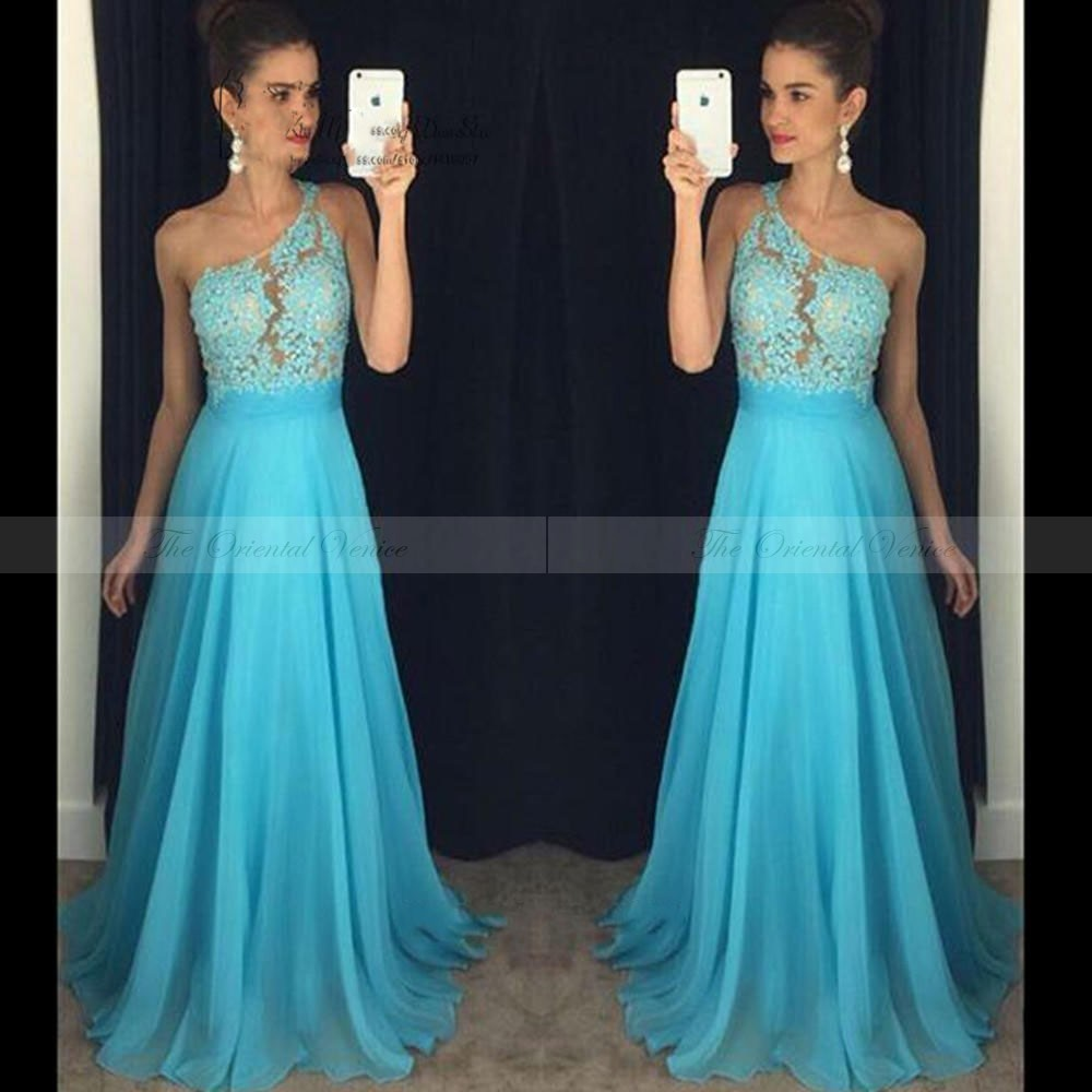 Online get cheap bridesmaids dresses under 100 aliexpress free shipping one shoulder blue bridesmaid dresses under 100 applique lace beaded illusion a line coral ombrellifo Gallery
