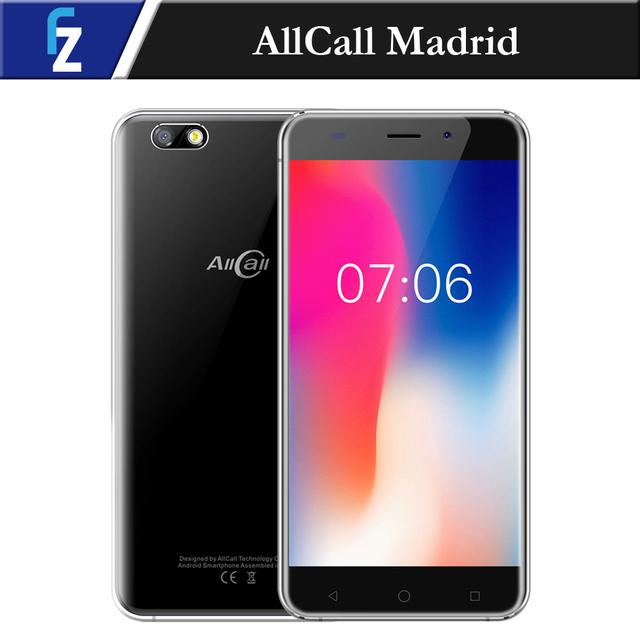 "AllCall Madrid 5.5"" HD 3G WCDMA Phone MTK6580A Quad Core Android 7.0 1G RAM 8G ROM 8.0MP Camera 2600mAh Smartphone Metal Frame"