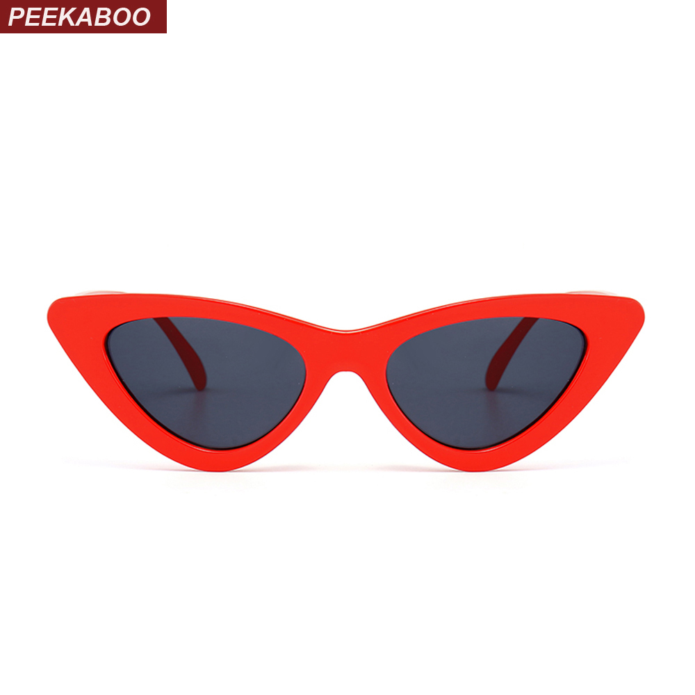Peekaboo cute sexy retro cat eye sunglasses women small black white 2018 tr..