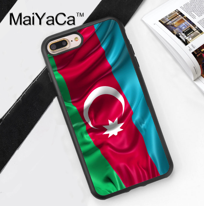Azerbaijan Flag Printed Soft Rubber Cover for Apple iPhone 7 7Plus 6 6S Plus 5 5S 5C SE 4S Hard Plastic Phone Cases