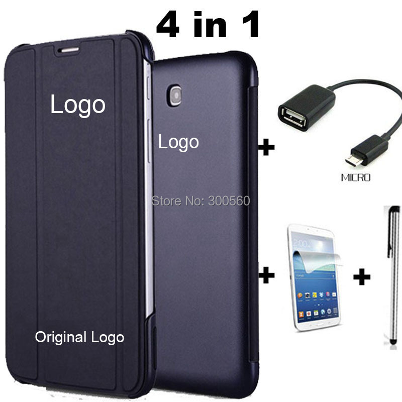4 in 1,Pu Leather Smart Case Stand Cover For Samsung Galaxy Tab 4 7.0 T230 T231 T235 + Screen Protecotor + Stylus + OTG cable