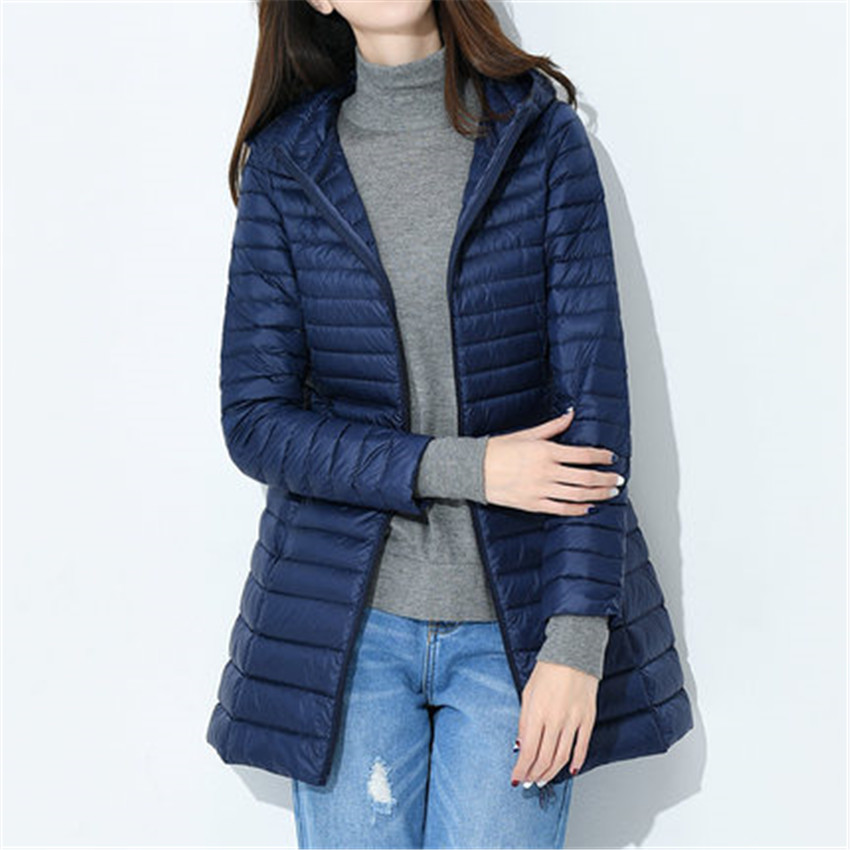 New Fashion Winter Women Hooded White Duck Down Light Midi Long Down Coat Jacket Slim Plus Size Down Jacket Female Coats WZ172