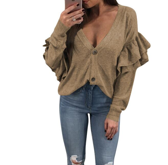 Women Coat Jacket Sweet Ruffle Long Sleeve Thin Caot V Neck Buttons Fashion Tops Outwear Women Clothing WS4932R