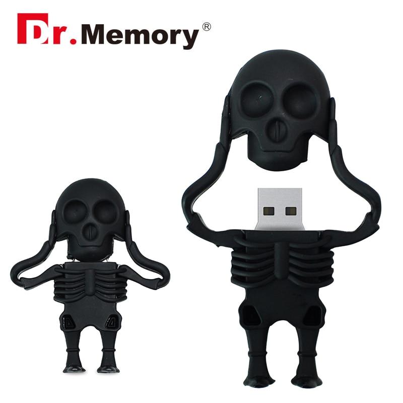 Skeleton USB 2.0 Flash Drives 32GB Black Skull Funny Pendrive 16GB Personalized USB Stick 4GB 8GB Memory Stick Pen Drive U Disk