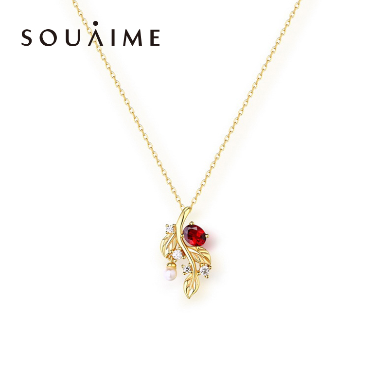 SOUAIME 14k Gold Plated 14K Gold Leaf Necklace Pendant, Fashion Choi Po Natural Garnet Jewelry Mother's Day Birthday Gift yoursfs heart necklace for mother s day with round austria crystal gift 18k white gold plated