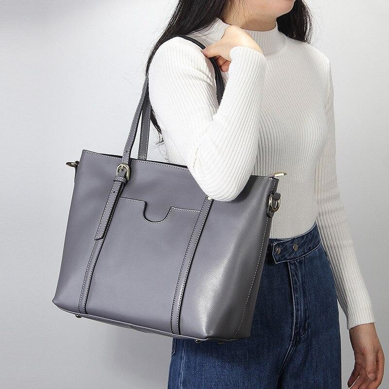 Famous brand women genuine leather handbags High capacity shoulder bags Big shopping Ladies handbags Fashion Casual tote 2018