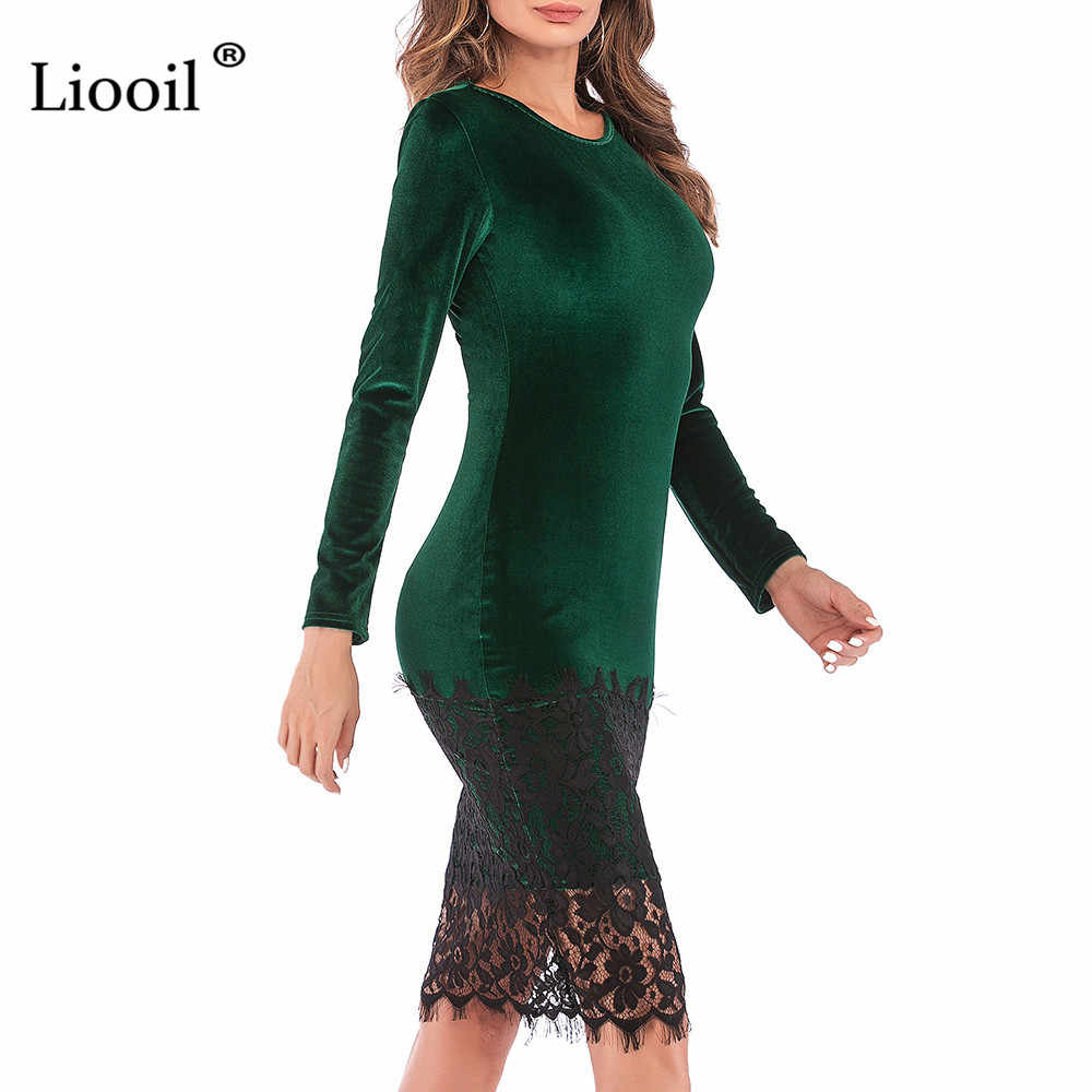 a9cf46382c2 ... Liooil Black Lace Velvet Dress 2019 Spring Casual Womens Clothing Robe  Sexy Wine Red Green Female ...