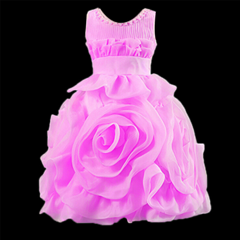 O-neck beading princess dress sleeveless baby girls pageant dresses for wedding party costume A-line large flower girl dresses new arrival 2016 girls big flower dress flower girl party dresses pearl o neck sleeveless princess birthday costume champagne
