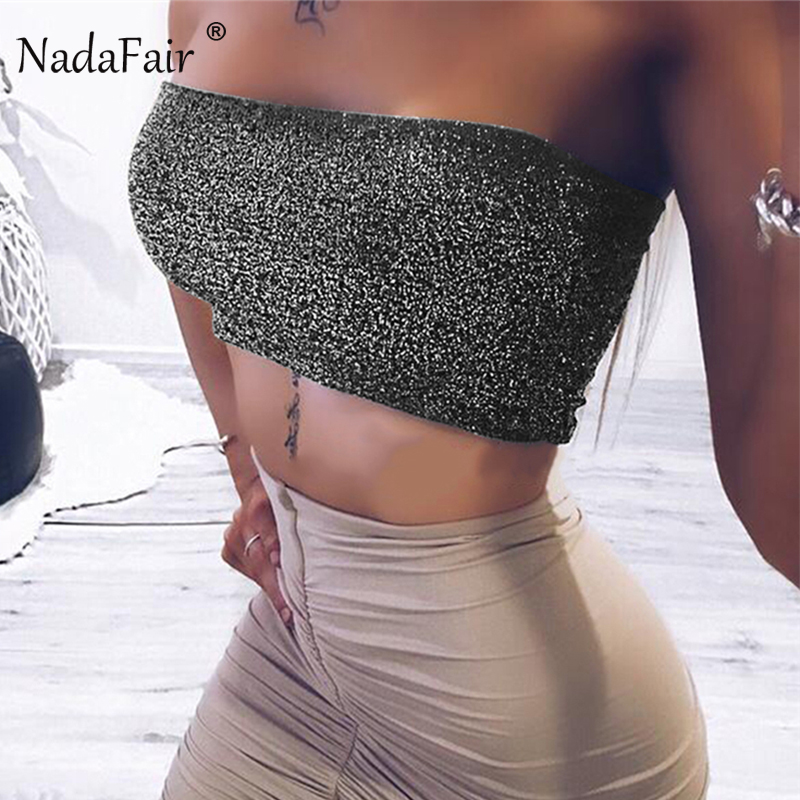 Nadafair 2018 Summer New Solid Slash Neck Wrap Sexy Club Tank Tops Women Backless Sleeveless Casual Beach Party Crop Top