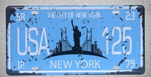 1 pc New York city US car license USA American plaques shop store  Tin Plates Signs wall Decoration Metal Art Vintage Poster