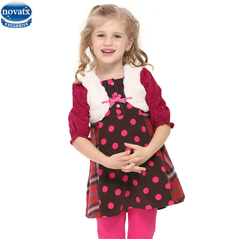 novatx H2785 newest warm winter fall girl dress fashional style half sleeve printed patten and bow