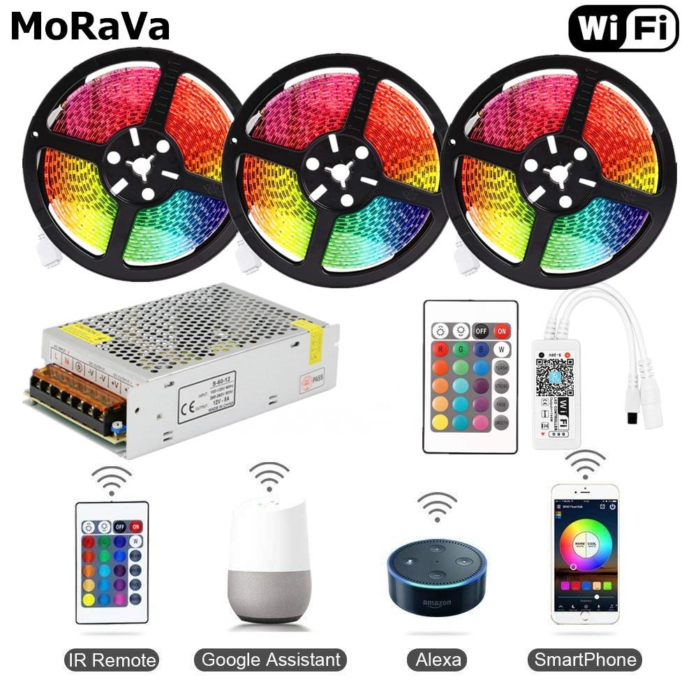 5050 RGB LED Tape Wireless WiFi LED Strip 5M 10M 15M Kit 12V 150leds Waterproof Flexible Rope Light+WiFi Controller+Power Supply