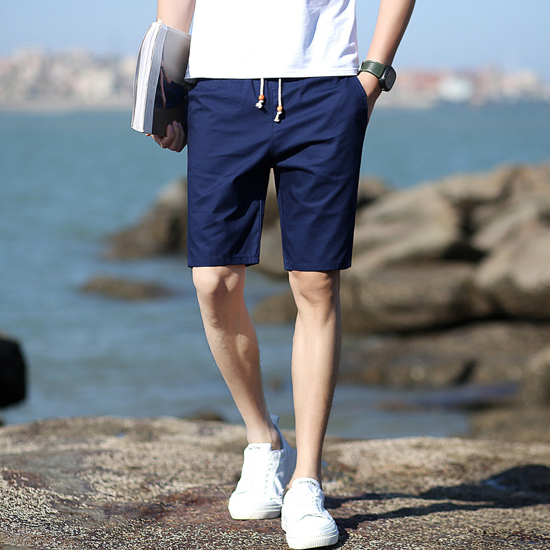 Streetwear Shorts Men Breathable Cotton Pure Color Shorts