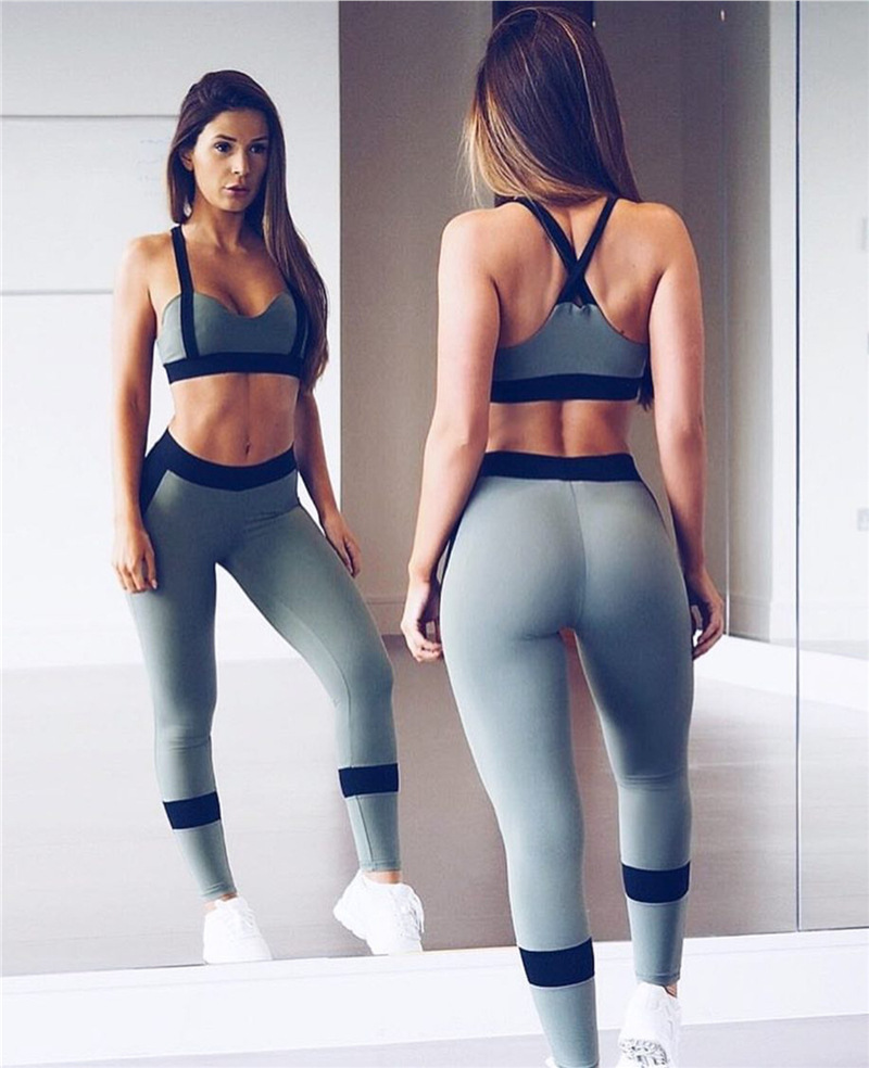 Women Yoga Sets Letter Print Fitness Workout Clothing Gym Running Girls Sexy Slim Sportwear Suit 2 Pieces set