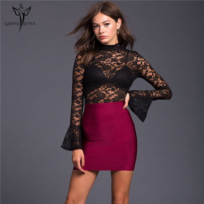 Women Sexy Bodysuits Lace Jumpsuit Night Club Playsuit Backless Long Sleeve Black Overall Rompers One piece Sexy Bodies 2017 New