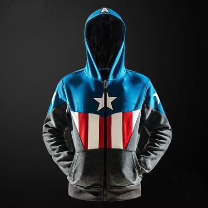 Alta-Q Unisex algodão ONE PIECE Camisolas Do Hoodie casaco Fino Dos Desenhos Animados The Avengers Capitão América jaqueta de Algodão Hoodies jaquetas