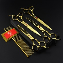 Poetry Kerry Professional Pet Scissors 7.0 inch For Dog Grooming, Straight & Thinning Curved Scissors, Grooming Shears