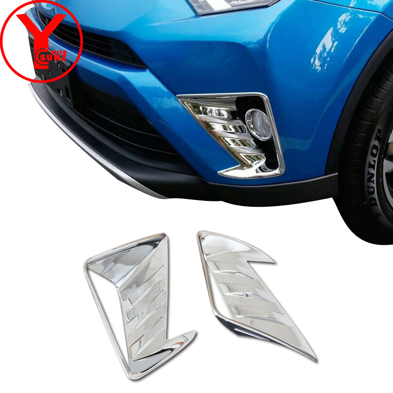 2016-<font><b>2018</b></font> chrome Front fog light cover For toyota rav4 2017 accessories ABS fog lights car styling For toyota <font><b>rav</b></font> <font><b>4</b></font> <font><b>2018</b></font> YCSUNZ image