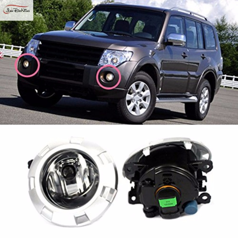 JanDeNing Car Fog Lights for Mitsubishi pajero V93 V97 2007-2010Clear Halogen bulb H11 Front Fog Lights Bumper Lamps Kit for opel astra h gtc 2005 15 h11 wiring harness sockets wire connector switch 2 fog lights drl front bumper 5d lens led lamp
