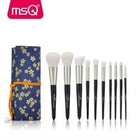 MSQ 10pcs Makeup Brushes Set Powder Foundation Eyeshadow Make Up Brush Cosmetics Kit Soft Goat Synthetic
