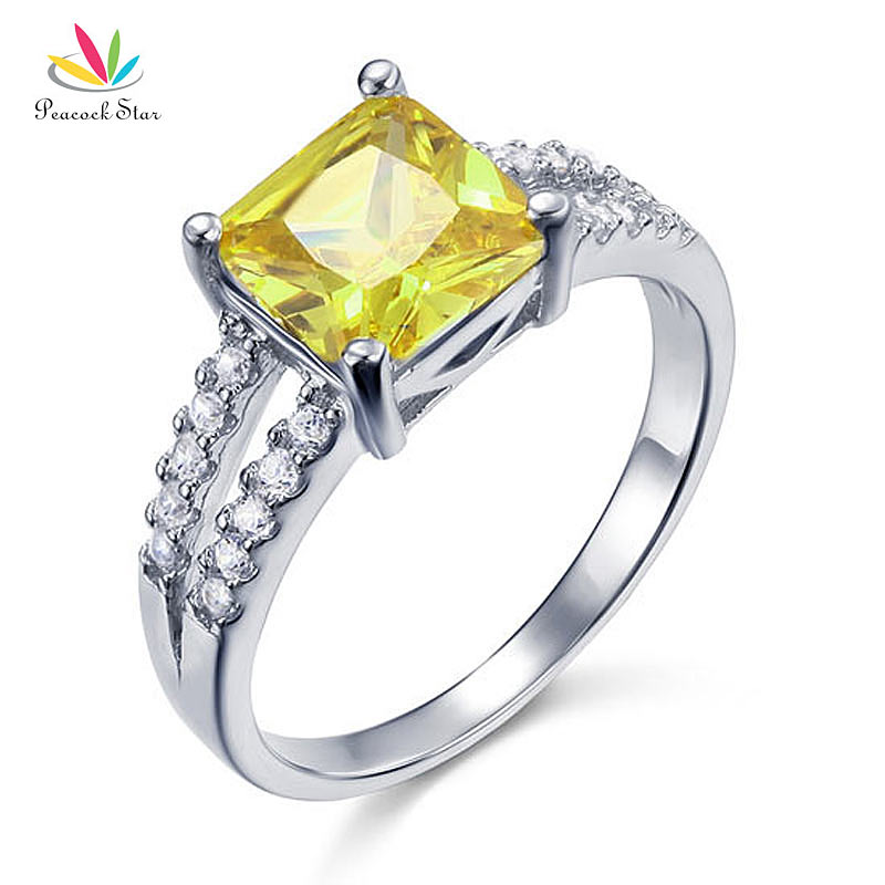 Peacock Star Yellow Ring Canary Color 2 Carat Sterling Solid 925 Silver Jewelry CFR8033