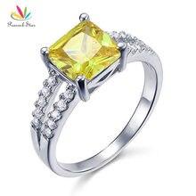 Павлин звезда желтый кольцо Канарские Цвет 2 карат стерлингов Твердые 925 Серебряные украшения CFR8033