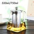Стеклянный чайник 550 мл/750 мл с фильтром для заварки из нержавеющей стали  чайный горшок для кувшин  инструменты для домашнего офиса  термост...