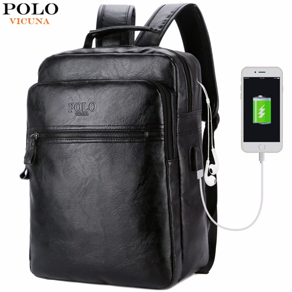 VICUNA POLO Men Leather USB Cable Travel Laptop Backpack With Headphone Hole School Backpack Has Front Pocket Bagpack mochila