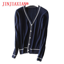 2018Spring NewAutumn Cardigan Sweater With V-Neck Pure wool coat Solid Color Fashion Spell High QualitySoft Mesh Knit womenCoat