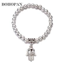 Silver Elasticity Bracelet Classic Beads Charm Bracelets Bangles Multiple Pendant Women Men Kids Adjustable Jewelry