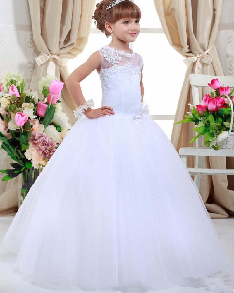 Fashion Lace Up Back Tulle Neckline A-line   Flower     Girl     Dresses   for Wedding Party Pageant First Communion Custom Made