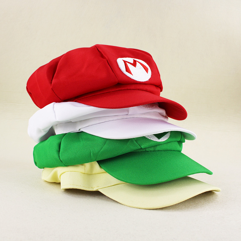 5 Styles Anime Super Mario hat Red Mario and luigi Cap Halloween Costume Buckle Hats Adult
