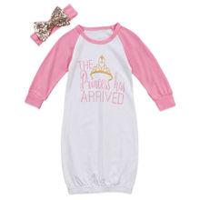 Newborn Baby Princess Girls Long Sleeve Letter Print Crown Swaddle Wrap Blanket Sleepwear Robes Sleep Bag+Headband 2PCS Clothes