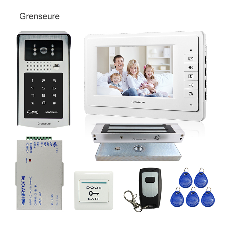 FREE SHIPPING Wire 7 Screen Video Intercom Door Phone System + Outdoor RFID Code Keypad Doorbell Camera Electric Magnetic Lock free shipping 7 lcd video door phone intercom system 2 screens rfid access code keypad password camera electric control lock