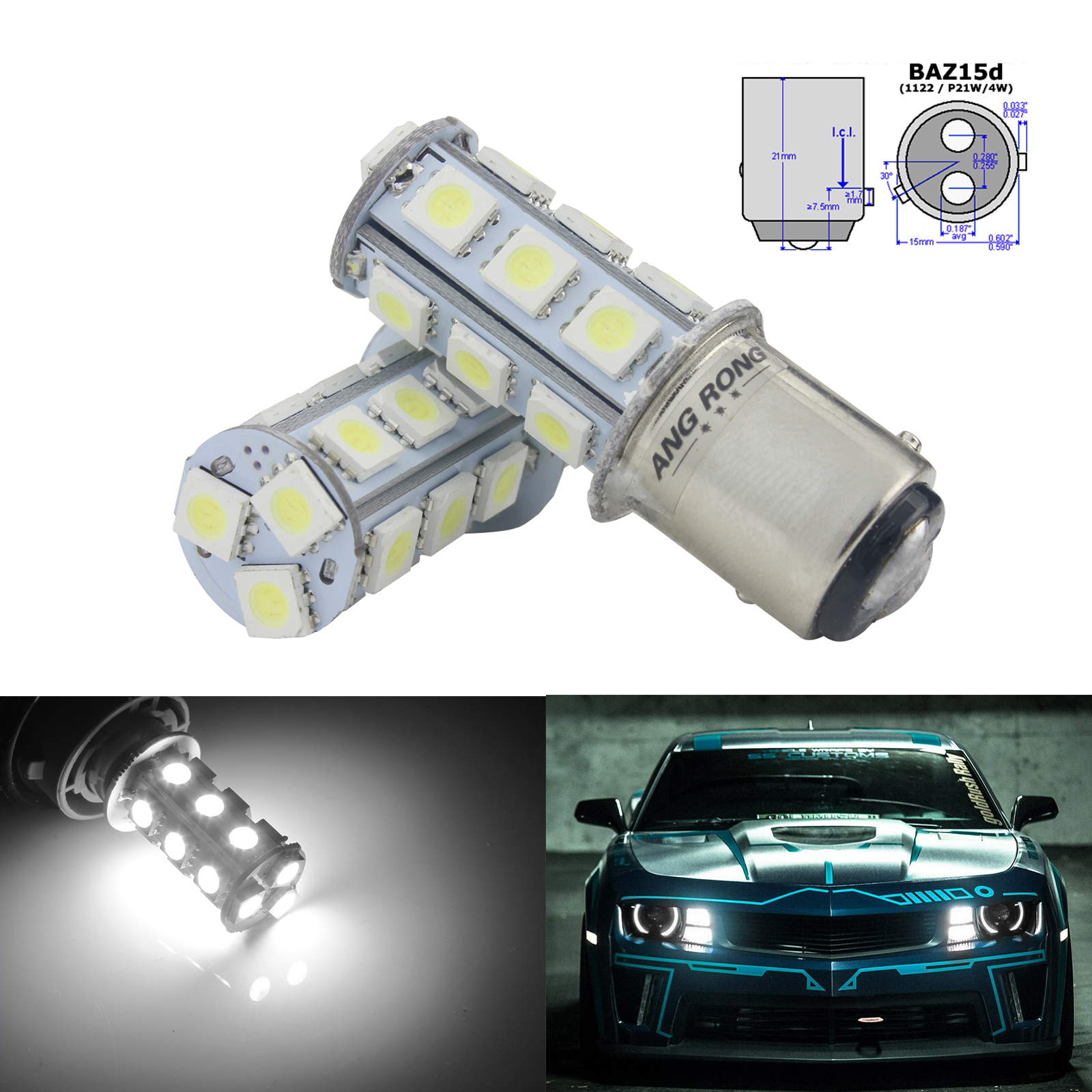 ANGRONG 2x BAZ15d P21/4w 566 18 SMD LED Bulb Auto Parking Tail Stop Brake Light White