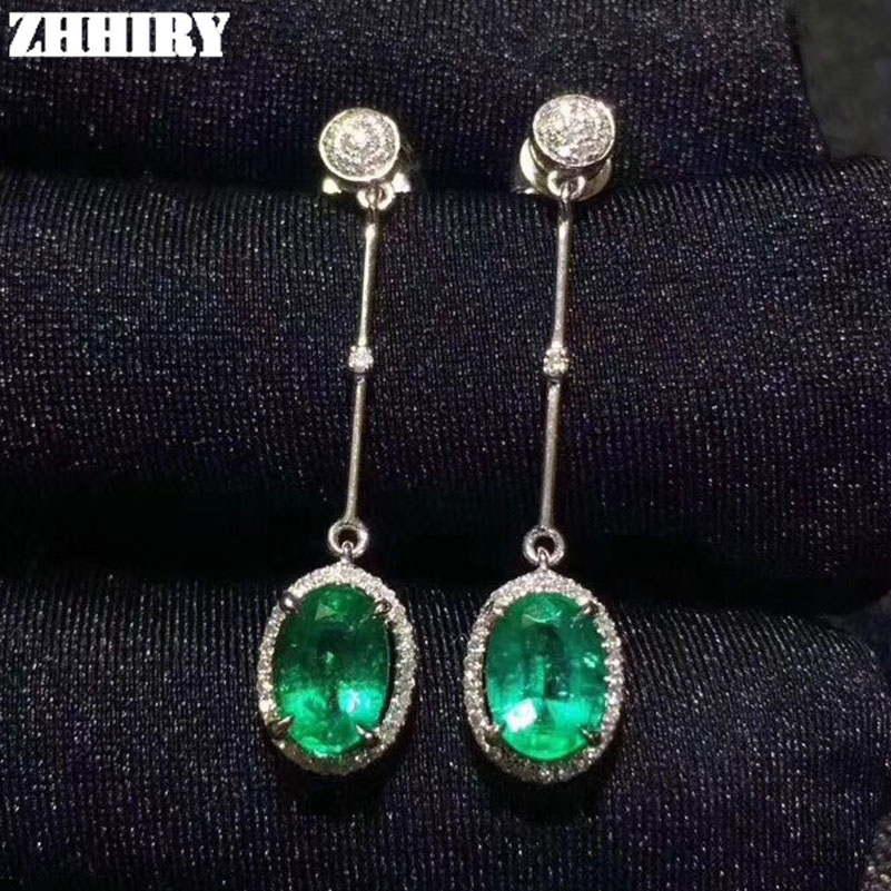 ZHHIEY Natural Emerald Earrings Genuine Solid 925 Sterling Silver Drop Earrings Real Emeralds Gemstone For Women