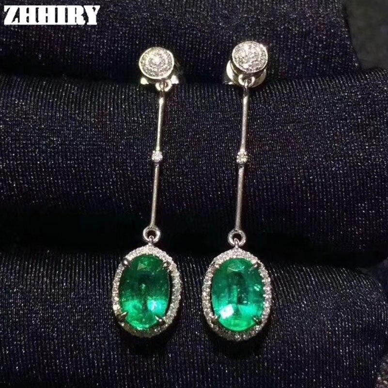 ZHHIEY Natural Emerald Earrings Genuine Solid 925 Sterling Silver Drop Earrings Real Emeralds Gemstone For Women Fine Jewelry