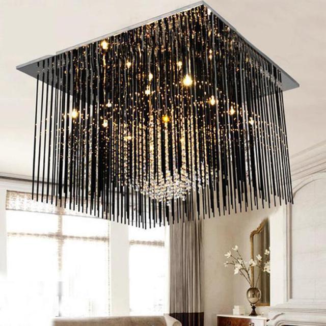 € 269.61  Antiguo G4 Led cristal negro Bar lámparas De techo para comedor  cuadrado llevó las luces del techo De la cocina rectángulo lámpara ...