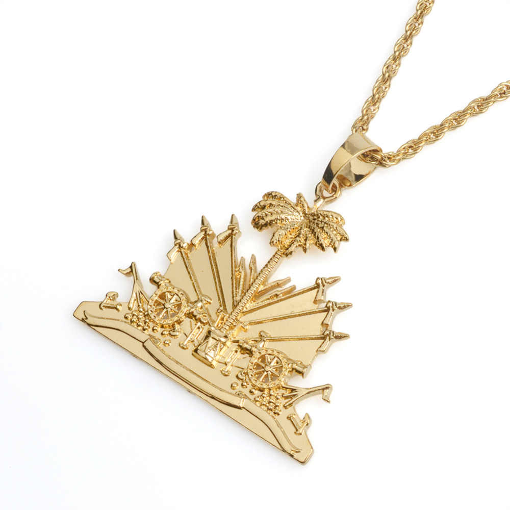 Gold Color Haiti Plant Pendant Necklace for Women Girls Ayiti Items Haiti Ethnic Jewelry Gifts #J0509