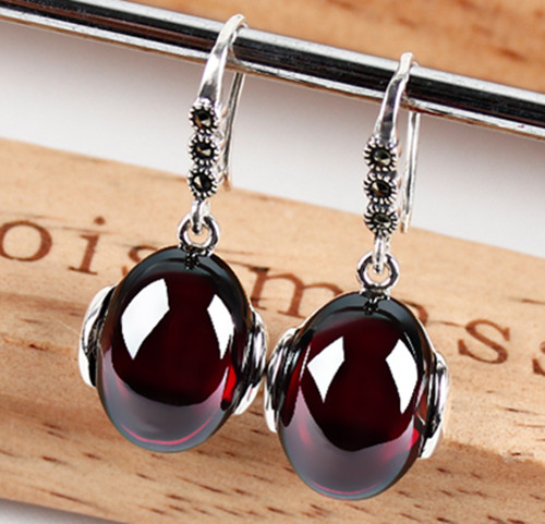 hai silver retro Topaz Earrings Garnet Earrings decorated agate pulp female temperament anti allergy 925 Silver 925 silver earrings female teardrop shaped earrings stylish temperament earrings