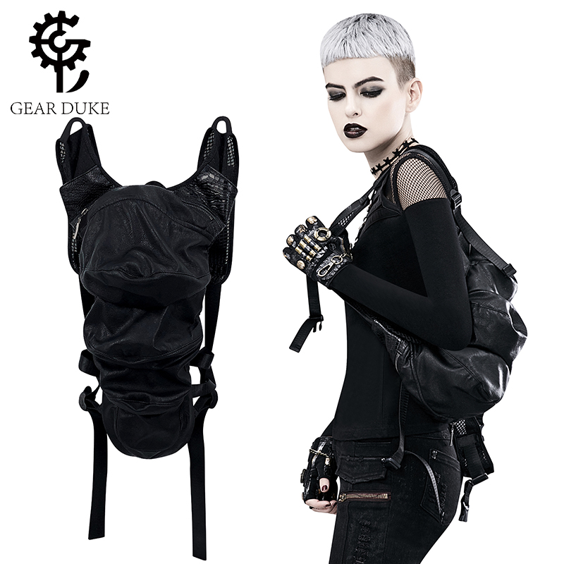 Gear Duke Brand Designer Women Steampunk Backpack PU Leather Backpacks For Women Gothic Shoulder Bags Motorcycle Daypack Rucksac