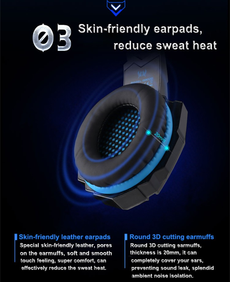 G9000 USB 7.1 Surround Sound Version Game Gaming Headphone Computer Headset Earphone Headband with Microphone LED Light (5)