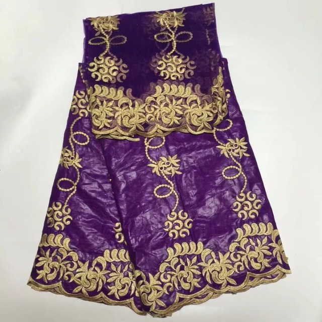 Purple bazin riche getzner african fabric with muslim net scarf ...