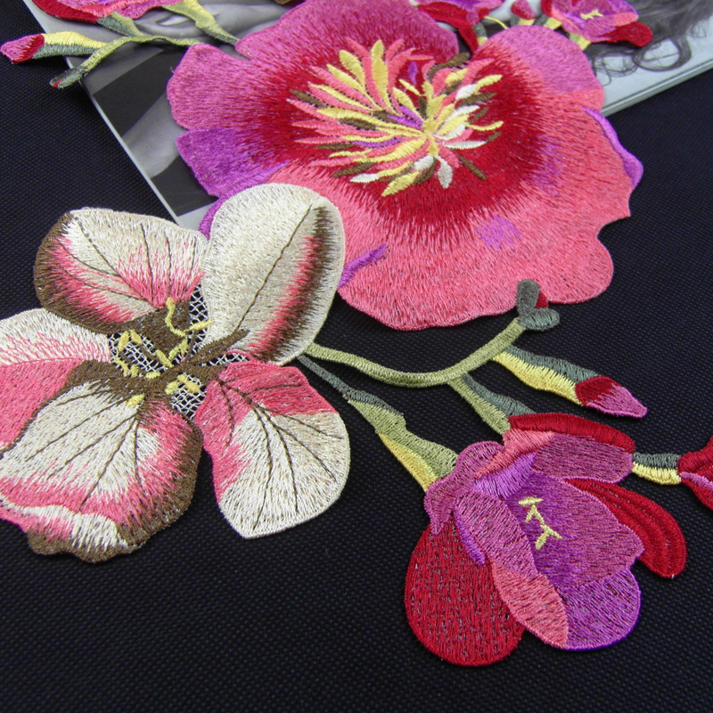 Image 2 - China National embroidery large cloth posted auspicious Flower clothes patch decals DIY velvet dress decoration accessories-in Patches from Home & Garden on AliExpress