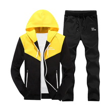 2019 Fashion Men Set Spring Casual Sporting Suit Male Patchwork Hooded Sweatshirt+Sweatpants Two Pieces Sets Tracksuit Men 4xl
