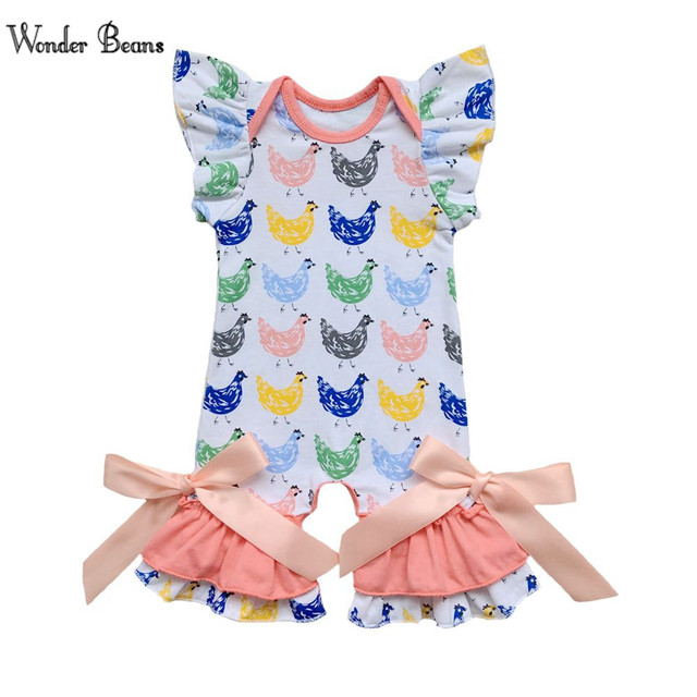 b614d9da81e2 Brand Easter Chicken Cotton Baby Girl Romper Newborn Fashion Puff Sleeve  Ruffle Jumpsuit Infantil Pajama With